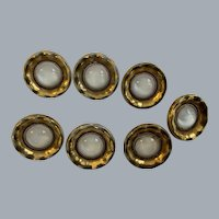 Lot of 7 Vintage Milk glass buttons with gold trim - 18mm.