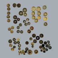 Lot of 77 Vintage gold tone metal buttons with sewing holes