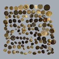 Impressive lot + 135 vintage gold tone metal buttons - crafts -knitting
