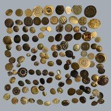 Impressive lot + 135 vintage gold tone metal buttons - crafts -knitting