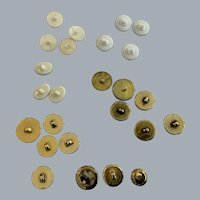 Vintage 25  goldtone and white/ivory  metal buttons with shanks