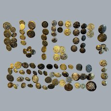 Lot of 100 metal goldtone vintage buttons with crests 15 sets collectible crafts