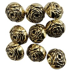 Lot of 9 domed raised flower rose small gold tone metal buttons