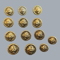 13 Vintage gold tone lion face buttons
