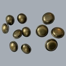 11 Vintage metal helmet buttons  7 x 17mm + 4 x 21mm with shanks