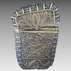 Silver filigree antique calling card case- Art Nouveau