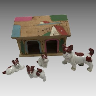 Japan 4 terrier dog puppy family porcelain figurines with wood house