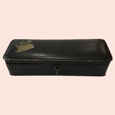 Antique French Sewing Glove Box Button Cushion black leather