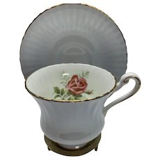Vintage Paragon pale blue cup and saucer pink rose