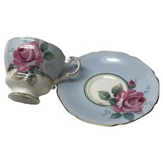 Paragon Blue teacup tea cup and saucer  large  pink rose- double warrants