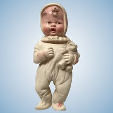 Reliable squeeze rubber baby doll holding  teddy bear- vintage