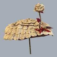 Antique Easter ladies  straw hat with rhinestones