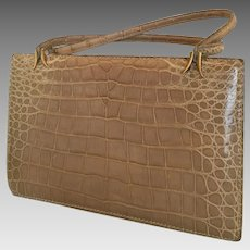 Coblentz  made in France tan beige Alligator  vintage handbag  purse bag Kelly style