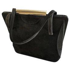 Black suede retro vintage handbag purse Montreal Coret