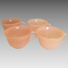 4 Fire-King  pink Swirl  cups by Anchor Hocking vintage