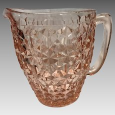Depression Era Pink Glass Pitcher in the Holiday Button and Bows Pattern