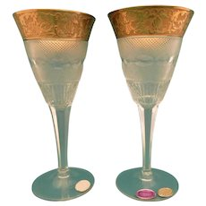 "Moser 2 white wine glasses 6 "" Splendid 10160- 24 K gold"