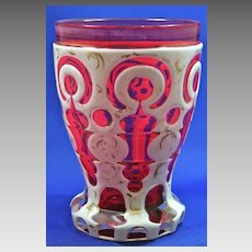 Antique Bohemian glass Biedermeier cranberry goblet beaker
