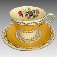 Vintage Aynsley Corset Tea Cup & Saucer rich yellow & gold with florals