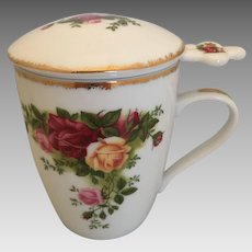 Royal Albert Old Country Roses tea cup mug and strainer- 3 pieces