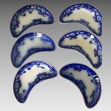 6 Flow Blue  side/ bone dishes Myott's, England CRUMLIN