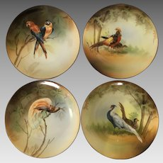 4  cabinet wall plates R.S. Germany  pheasants birds
