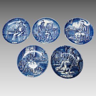 5 Blue and white Enoch Wedgwood small  plates: Huntsman, Game keeper, Sailor, Pedlar, Soldier