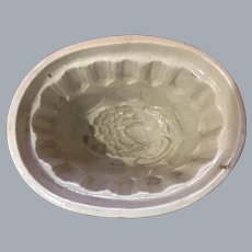 Antique Victorian Food Mold Yellow Ware Ironstone Floral Jelly Pudding Ice Cream