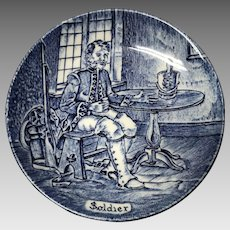 Blue and white Enoch Wedgwood small plate Soldier