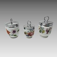 3 Royal Worcester Porcelain Egg Coddlers ~ Excellent Condition