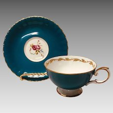 Susie Cooper teal with roses cup and saucer set