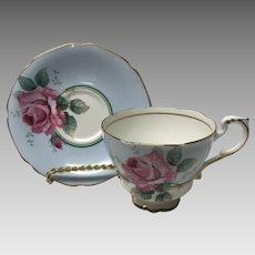 Paragon Blue teacup tea cup and saucer pink rose- double warrants