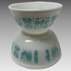 2 Pyrex turquoise butterprint Amish bowls. 402 403