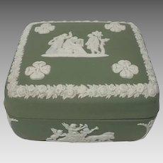 Vintage Wedgwood jasper ware green trinket box with lid