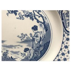 Adams Tunstall blue transfer ware Japanese ladies plate cherry blossom