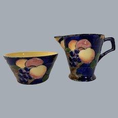 Tunstall cobalt blue fruit- autumn creamer and sugar bowl set.