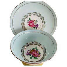 Paragon Blue  and Silver Cup and Saucer, with Pink Cabbage Roses -England c.1939