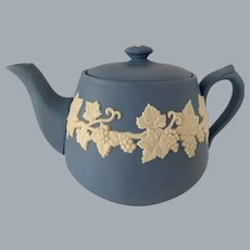 ECanada Art Pottery Jasperware Blue Tea Pot