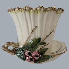"""MCCOY POTTERY  berries HANDLE 5"""" planter  with saucer- fluted and ribbed"""