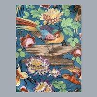Vibrant Royal Winton teal bird pheasant floral square plate