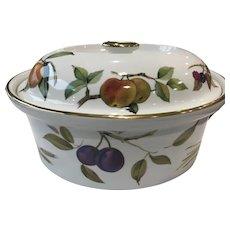 Royal Worcester Evesham gold deep oval casserole dish shape size