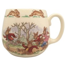 "Bunnykins 1 handle Don mug cup  Royal Doulton  2 7/8""  -roller skating"