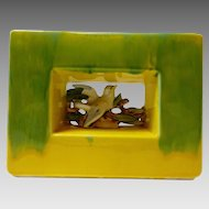 McCoy Arcature yellow and green  planter  vase with bird in window