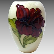 Moorcroft white vase yellow and ruby red hibiscus