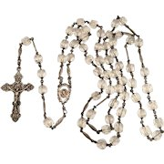 Cut crystal bead and sterling spacers and ornate crucifix chaplet rosary circa 1920 GLORIA vintage