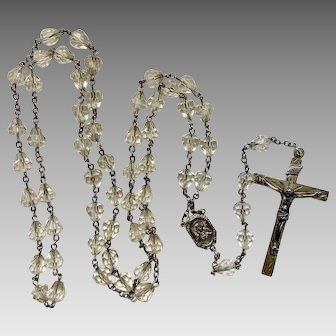 Vintage RLC STERLING Catholic INRI Rosary  chapelet w/ Clear crystal Beads