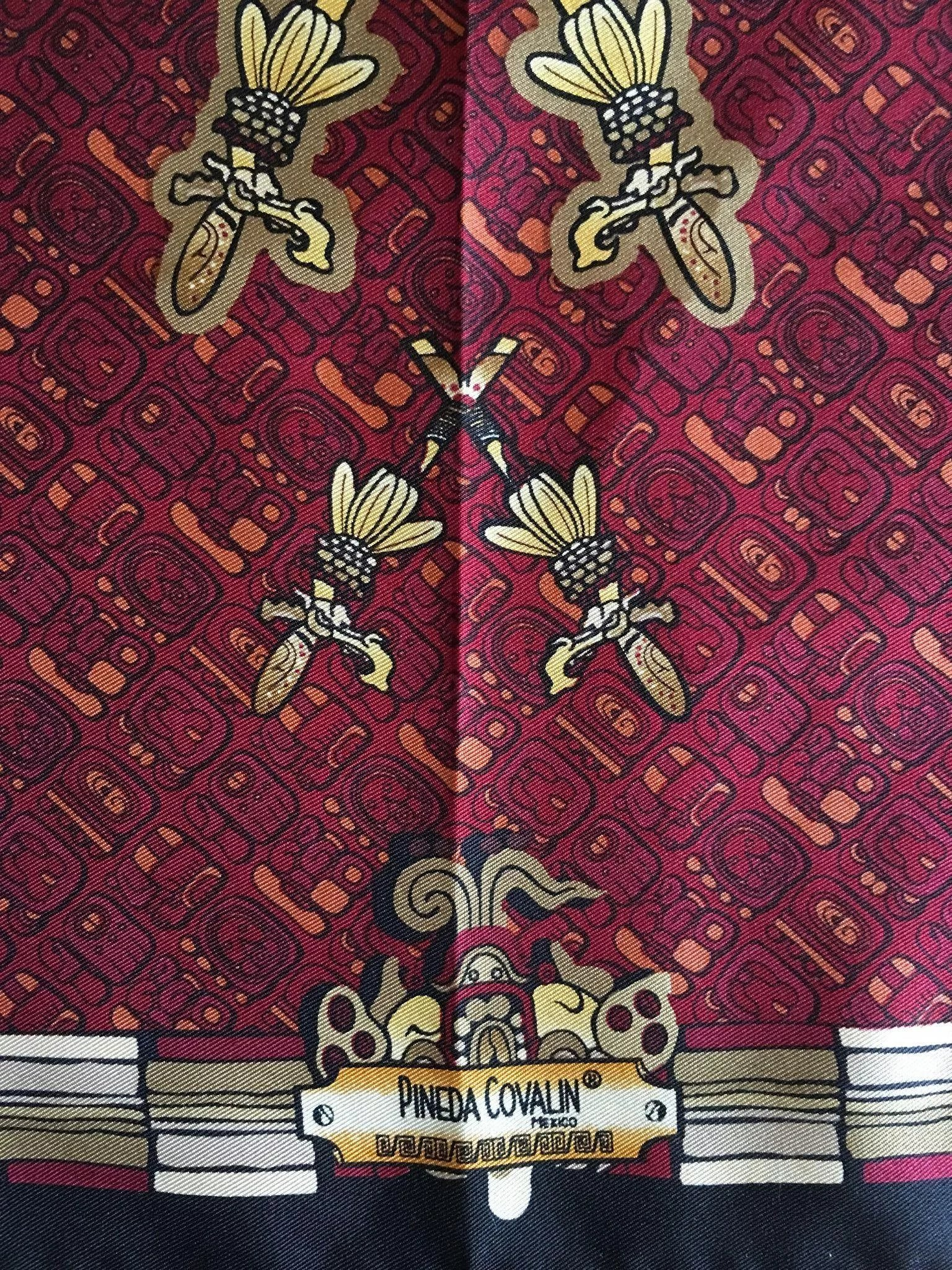 St Louis Taxi >> Pineda Covalin silk scarf aztec- Mexico - ancient mayan writing script : Mademoiselle Taxi ...