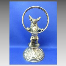 FIGURAL Wolf in jacket antique French cocktail pick toothpick metal holder