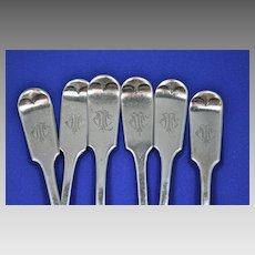 6 Antique Roden Birks sterling silver  forks fiddle-1890's