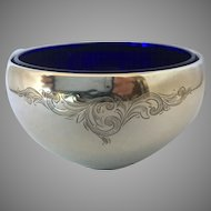 Birks STERLING SILVER  and cobalt blue liner mayonnaise bowl/ dish